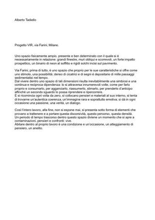 Alberto Tadiello, progetto per VIR