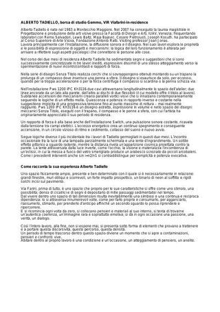 Alberto Tadiello, testo esplicativo