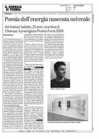 Articolo sul Giornale di Vicenza, 3-2-2009.