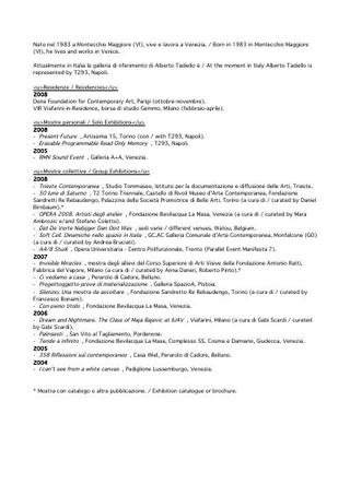 Alberto Tadiello, curriculum vitae