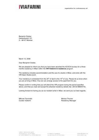 Viafarini invitation letter to Benjamin Greber