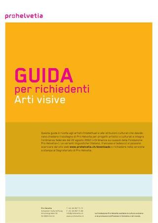 Guida per richieste contributo alla ProHelvetia.