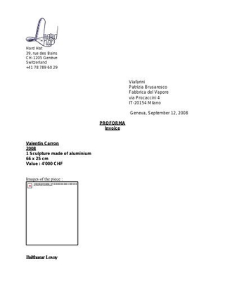 Proforma invoice.