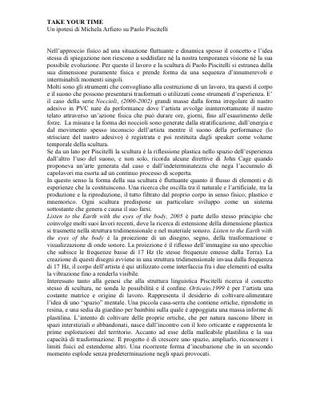 Testo di Michela Arfiero su Paolo Piscitelli.