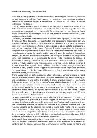 Testo di Elena Bordignon su Giovanni Kronenberg.