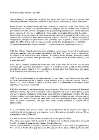 Intervista a Elenia Depedro di Simone Menegoi.