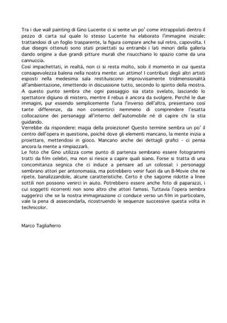 Testo di Marco Tagliafierro su Gino Lucente.