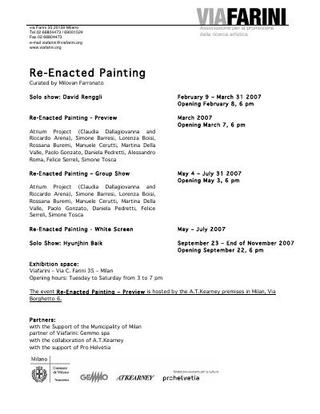 """Materiali Re-Enacted Painting: comunicati stampa, scheda tecnica, testo critico, progetto, invito, didascalia opere, profili artisti, comunicazione """"Gemmo per Viafarini"""", comunicazione """"DOCVA"""""""