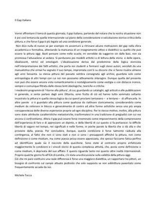 Il Gap italiano, contributo di Michele Tocca