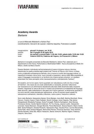 """Academy Awards """"Barbarie"""", 2012, comunicato stampa, mappa dell'allestimento e didascalie opere"""