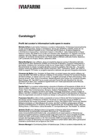 Curatology, profili dei curatori e informazioni sulle opere in mostra