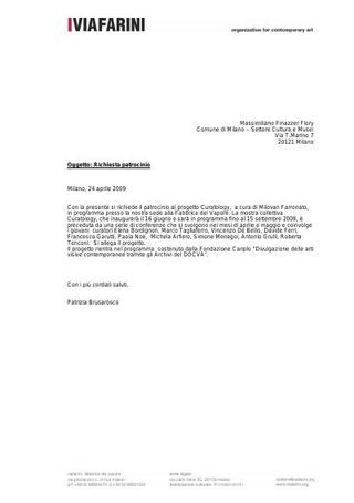 Richiesta patrocinio a Comune di Milano per Curatology