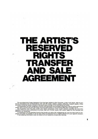 The Artist's Reserved Rights Transfer and Sale Agreement, New York City, 1972