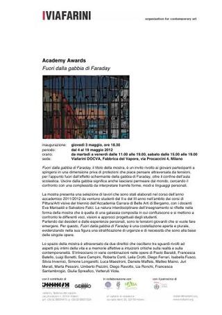 """Academy Awards, """"Fuori dalla gabbia di Faraday"""", 2012, comunicato stampa, mappa dell'allestimento e didascalie opere"""
