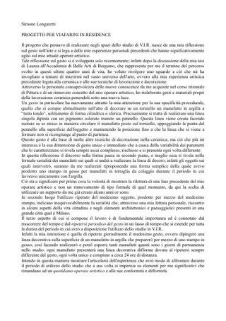 Simone Langoretti, progetto per VIR Viafarini-in-residence