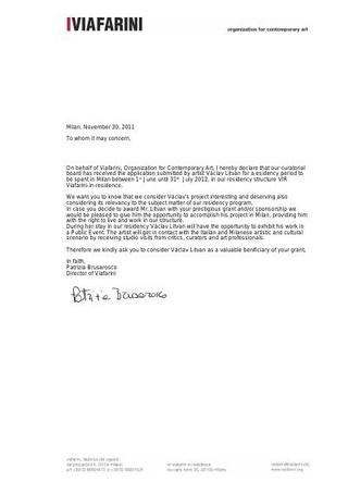 Lettera di invito a Vaclav Litvan