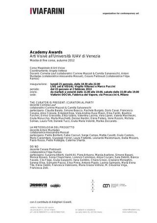 """Academy Awards, """"Arti visive all'Università IUAV di Venezia"""", 2012-2013, comunicato stampa e locandina """"Curatorial Party"""""""