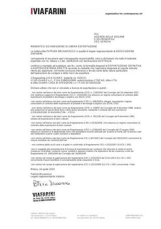Mandato e dichiarazione di libera esportazione per dogana.