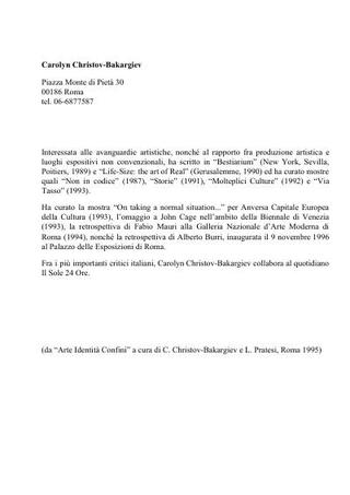 Curriculum di Carolyn Christov-Bakargiev nel 1996, all'epoca del progetto