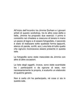 Testo per il workshop di Jimmie Durham