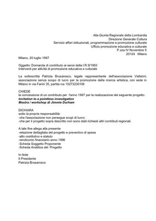 Domanda di contributo per finanziamento Regione Lombardia, 1997