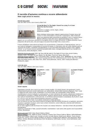 Biografie e statement degli artisti in mostra