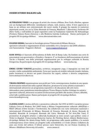Biografie dei relatori al talk