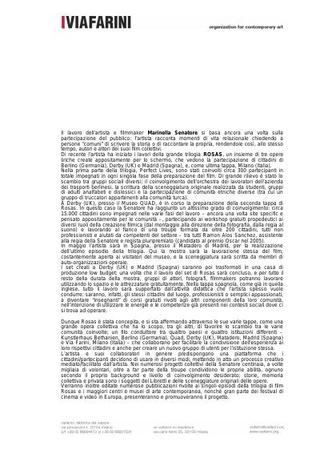 Presentazione della ricerca dell'artista a Milano