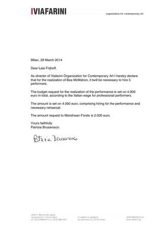 Richiesta di sostegno a Mondriaan Fund.